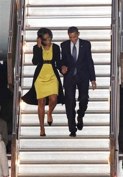 President Obama and Michelle Obama arrive in London