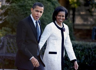 Michelle Obama and the President on way to London
