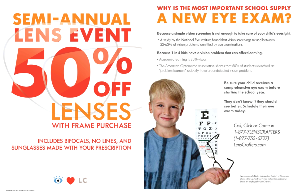 photograph relating to Lenscrafters Printable Coupons named Lenscrafters free of charge eye take a look at coupon - Oct 2018 Discounts