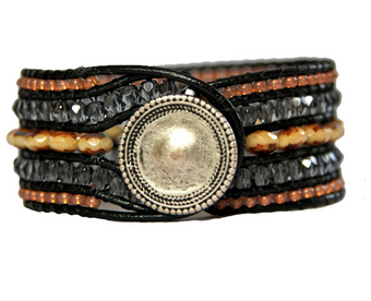 Natural and Blue Beaded Five Row Leather Cuff Bracelet by KP