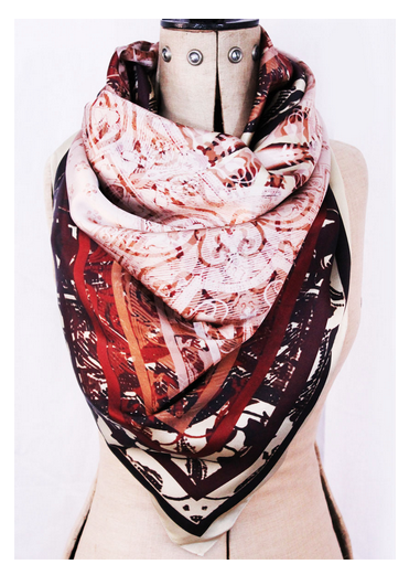 Ephemeral Ethereal No.6 Digitally Printed Silk Satin Square Scarf by Tuff Love
