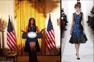 Michelle Obama wears Oscar de la Rental Fall 2014