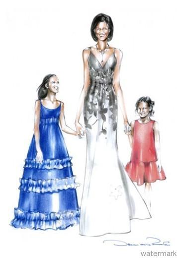 Oscar de la Renta Michelle Obama Inauguration Sketch