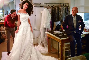 Amal Alamuddin George Clooney wedding fitting with Oscar De La Renta