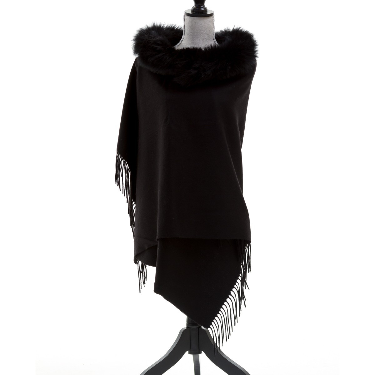 Wool Shawl w/ Fox Fur Trim $355.00